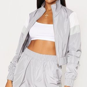 STRIPE SHELL TRACKSUIT TOP GREY